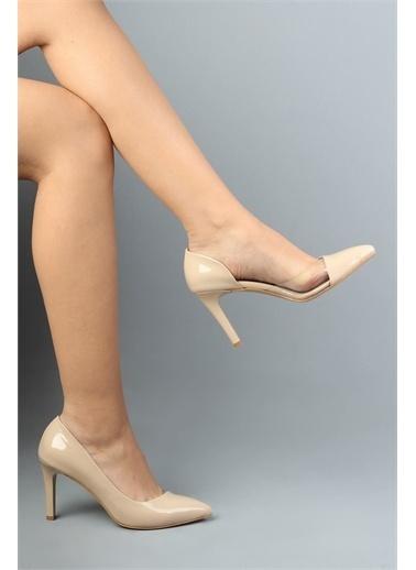 Modabuymus Modabuymus  Rugan Yanı Açık Şeffaf Stiletto Topuklu Ayakkabı - Lotus Ten